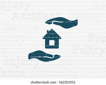 Insurance concept: Painted blue House And Palm icon on White Brick wall background with  Tag Cloud