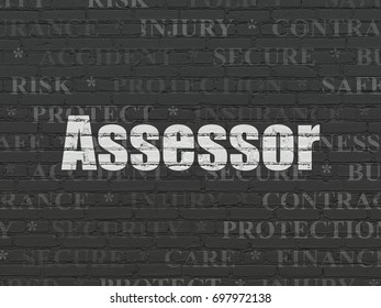 Insurance concept: Painted white text Assessor on Black Brick wall background with  Tag Cloud