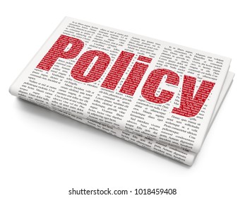 Insurance concept: Pixelated red text Policy on Newspaper background, 3D rendering