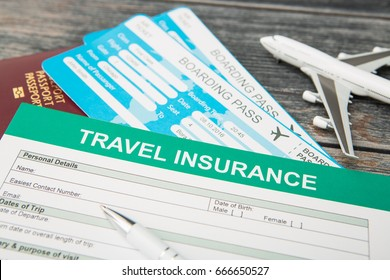 Insurance form and tickets. Travel and vacation insurance concept.
