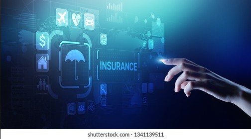 Insurance, health family car money travel Insurtech concept on virtual screen.