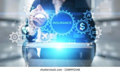 Insurance, health family car money travel Insurtech concept on virtual screen.