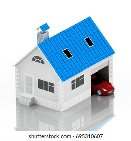 Insurance home, house with blue roof, life, car protection. Buying house and car for family icon. Protect people Concepts. 3D illustration. Icon for the web site of the bank. Red car. Reflection.
