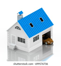 Insurance home, house with blue roof, life, car protection. Buying house and car for family icon. Protect people Concepts. 3D illustration. Icon for the web site of the bank. Orange car. Reflection.