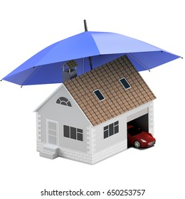 Insurance home, house, life, car protection. Buying house and car for family icon. Protect people Concepts. 3D illustration. Icon for the web site of the bank. House and car under blue umbrella.