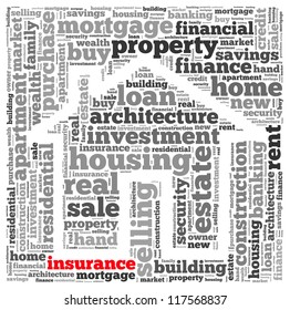 Insurance loan info-text graphics and arrangement concept on white background (word cloud)