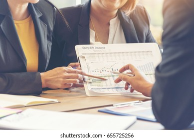 Insurance meeting with client. Agents suggestion benefits for life insurance protection from financial loss and saving money plan for customers to against the risk of contingent. Insurance concept.