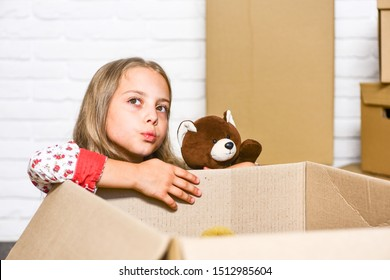 Insurance post package. Deliver your treasures. Storage for toys. Delivering happy moments to childhood. Relocating delivery services. Delivering happiness. Little child open post package with toys.
