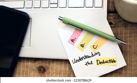 Insurance questions understanding the deductible on insurance for home, car insurance, health insurance conceptual a,b,c's of policy and claims photography background