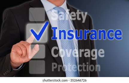 Insurance Safety Coverage Protection - Manager with touchscreen and checkbox