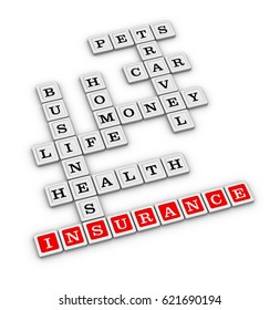 Insurance services crossword puzzle. 3D illustration on white background.