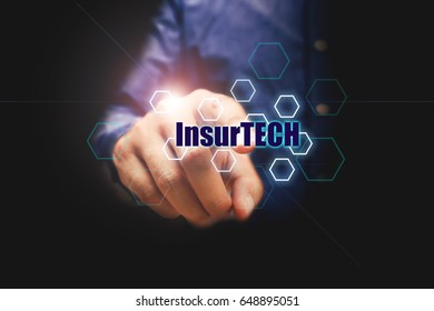 Insurance technology (Insurtech) concept and businessman pressing on text with virtual screen.