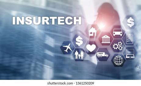 Insurance technology (Insurtech) concept. Inscription on a virtual screen.