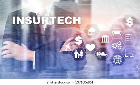 Insurance technology Insurtech concept. Inscription on a virtual screen.