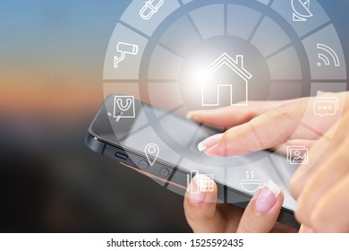 Insurance technology (Insurtech) concept, woman looking data information on smartphone.
