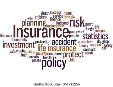Insurance, word cloud concept on white background.