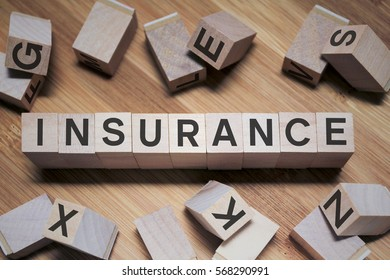 Insurance Word In Wooden Cube