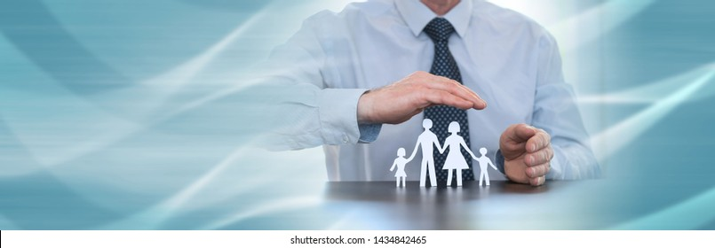 Insurer protecting a family with his hands; panoramic banner