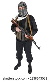 insurgent dressed in black uniform and black and white shemagh with AK 47 rifle isolated on white