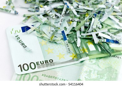 intact and shredded one hundred euro bills