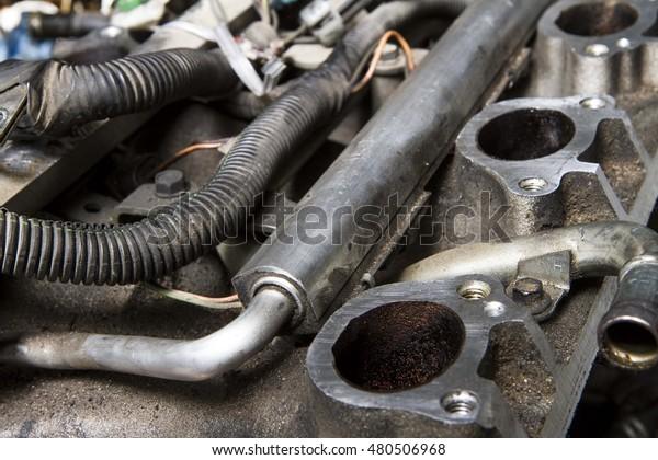 Intake Manifold Fuel Rail On Car Stock Photo (Edit Now
