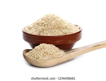 Integral long rice pile with wooden spoon and  clay pot isolated on white background