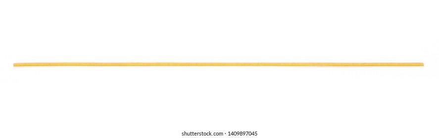 Integral spaghetti, yellow pasta isolated on white