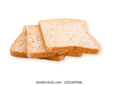 Integral whole wheat toast bread slices isolated on white background.