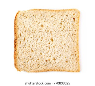 Integral whole wheat toast bread slices isolated on white background, top view