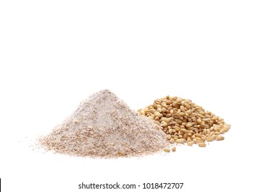 Integral wholewheat flour pile and wheat grains isolated on white background