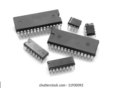 Integrated circuit chip against white background