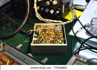 Integrated circuit (IC) ,capacitor ,transistor ,resistor ,diode ,connector and power line in electronics circuit of control unit of Avionics system with maintenance.