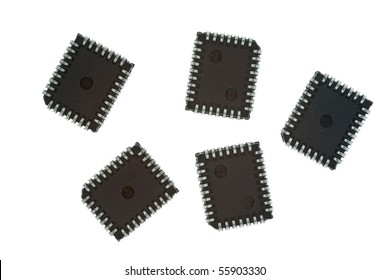 Integrated Circuits in black isolated on white background