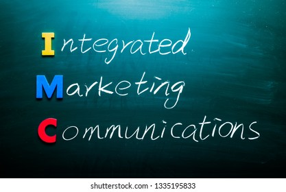 Integrated marketing communications concept. Colorful words on blackboard