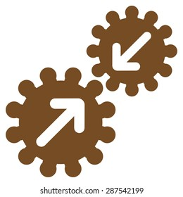 Integration icon from Business Bicolor Set. Glyph style: flat symbol, brown color, rounded angles, white background.