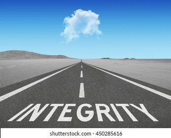 Integrity inspirational quote on highway concept