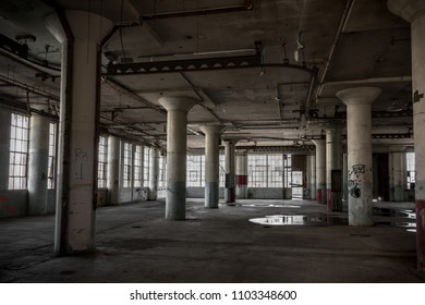 Inteior of abandoned industrial building.