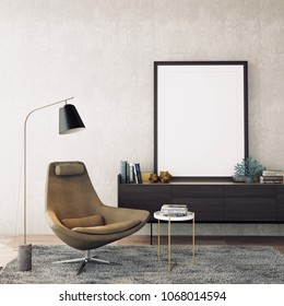 Inteior design modern style in living area with empty frame ,carpet,armchair , props on wood floor and concrete wall /3d illustration,3d rendering