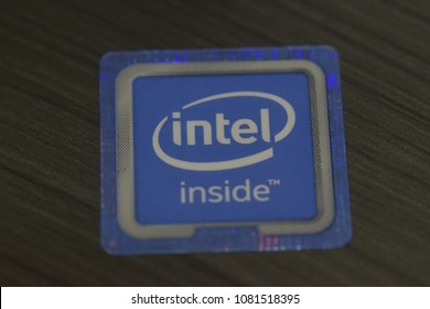 intel core sticker on laptop or computer