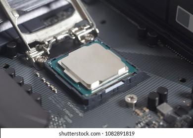 Intel LGA 1151 cpu socket on motherboard Computer PC with cpu processor