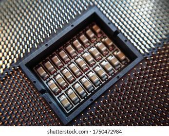 Intel Motherboard Socket R 2011-3 Macro Photo