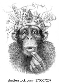 Intellect amplifier. Illustration of an ape with sci fiction device on its head. Pencil sketch on paper.