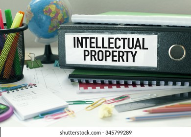 Intellectual Property  Conceptual background in office with files and papers