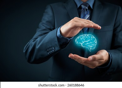 Intellectual property protection law and rights, copyright and patents concept. Protect business ideas, mental health, psychologist and headhunter concepts.