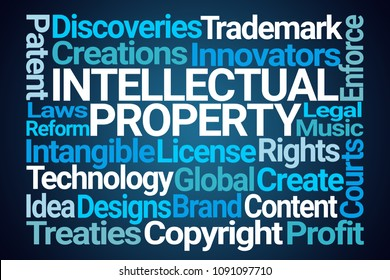 Intellectual Property Word Cloud on Blue Background