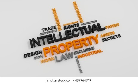 Intellectual Property word cloud over white background
