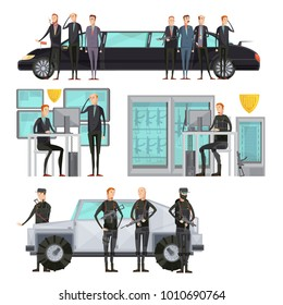 Intelligence agency colored flat composition with security and cars protection and scanning  illustration