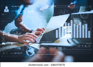 Intelligence (BI) and business analytics (BA) with key performance indicators (KPI) dashboard concept.StartUp Programming Team. Website designer working digital tablet dock keyboard.
