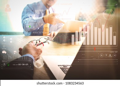 Intelligence (BI) and business analytics (BA) with key performance indicators (KPI) dashboard concept.Business team meeting present. professional investor working new startup project.