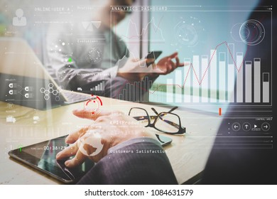 Intelligence (BI) and business analytics (BA) with key performance indicators (KPI) dashboard concept.Medical technology network team meeting concept. Doctor hand working smart phone.